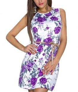 Vööga lilleline kleit